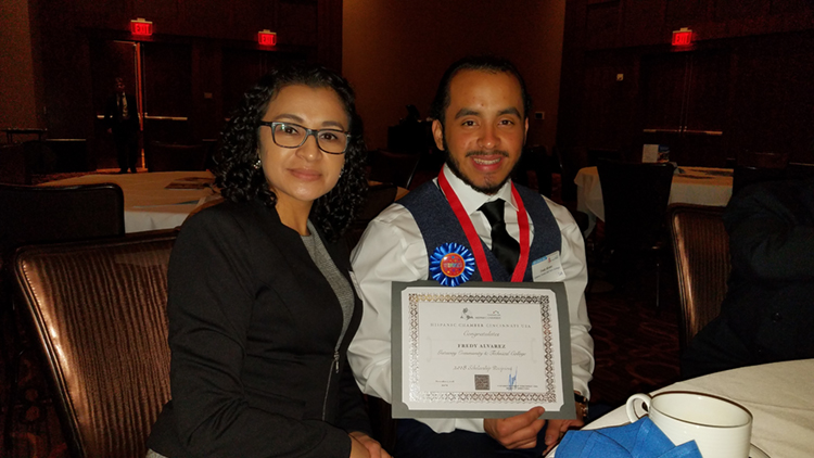 Fredy Alvarez and his mother during the Hispanic Chamber of Cincinnati's gala event on Nov. 1.