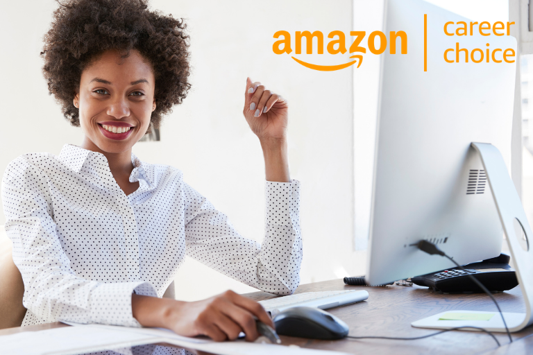 business woman at computer with amazon career choice logo
