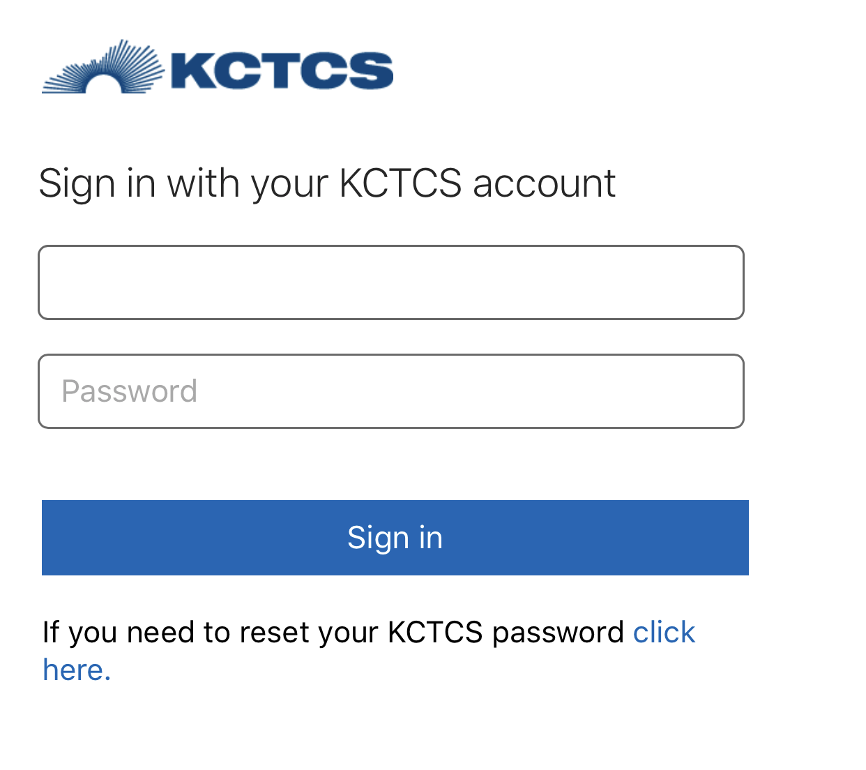 sign in with kctcs credentials