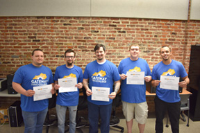 Gateway's first AWS Certified Cloud Practitioners pictured from left to right Bradley Hubbard, Tyler Van Dyke, Stephen Woodard, Seth Reynolds, and Chian Greene.
